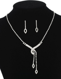 Fashion Silver Diamond-set Tassel Pierced Necklace Earrings Two-piece