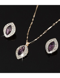 Fashion Purple Necklace Earrings Set