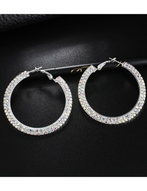 Fashion Silver Round Hollow Diamond Stud Earrings