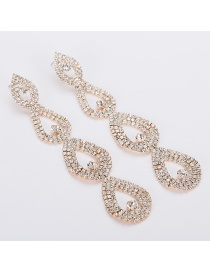 Fashion Gold Full Drilled Hollow Earrings