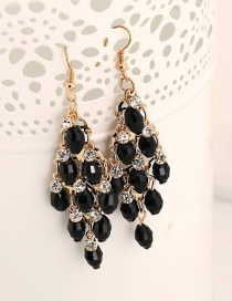Fashion Black Crystal Earrings