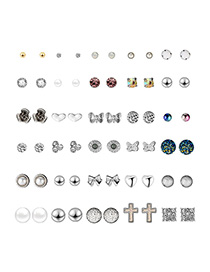 Fashion Silver Cross-studded Stud Earrings 30 Pairs
