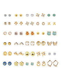 Fashion Gold Geometric Alloy Earrings 30 Pairs
