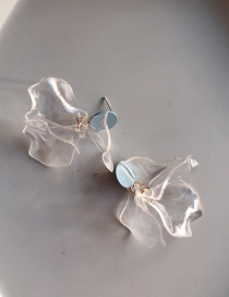 Fashion Transparent White 925 Silver Needle Acrylic Stereo Flower Earrings