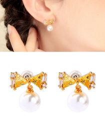 Fashion Yellow 925 Sterling Silver Pearl Bow Plated Gold Earrings