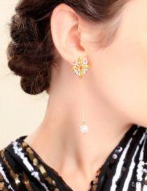 Fashion Color 925 Sterling Silver Pearl Flower With Zircon Stud Earrings