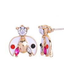 Fashion Short Earrings White S925 Silver Needle Insect Ladybug Earrings