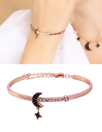 Fashion Rose Gold Diamond Star Moon Bracelet