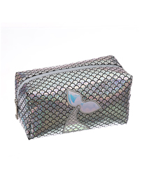 Fashion Fish Tail Silver Mermaid Laser Embroidered Cosmetic Bag