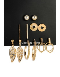Fashion Gold Leaf Ring Earrings 6 Pairs
