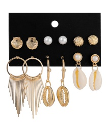 Fashion Gold Shell Fringed Metal Pearl Earrings 6 Pairs