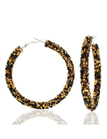 Fashion Black Plus Gold Alloy Diamond Earrings