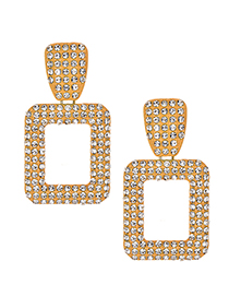 Fashion Yellow Alloy Studded Square Earrings
