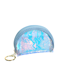 Fashion Blue Love Pvc Laser Matte Opaque Purse