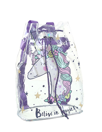 Fashion Violet Transparent Cartoon Pvc Beam Backpack