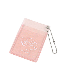 Fashion Light Pink Transparent Glitter Double Card Id Card Package