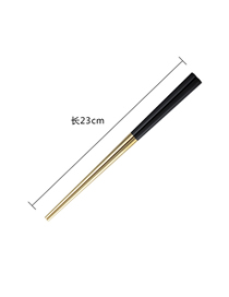 Fashion Black Gold Chopsticks 304 Stainless Steel Black Titanium Gold Square Anti-hot Chopsticks Set