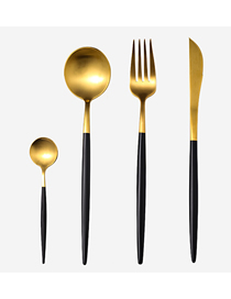 Fashion Black Gold 4 Piece Set (cutlery Spoon + Coffee Spoon) 304 Stainless Steel Cutlery Cutlery Set
