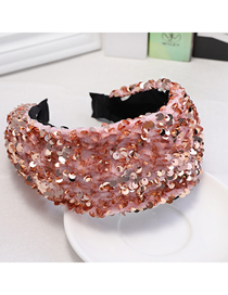 Fashion Pink Sequined Wide-brimmed Headband
