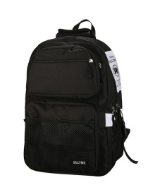Fashion Black Contrast Stitching Mesh Backpack