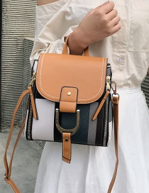 Fashion Yellow Brown Belt Buckle Contrast Color Stitching Shoulder Bag Shoulder Bag
