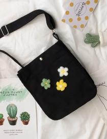 Fashion Black Flower Double-sided Single Shoulder Slung Canvas Bag