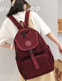 Fashion Red Labeling Large Capacity Backpack