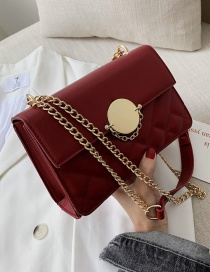 Fashion Red Wine Locked Rhombic Chain Shoulder Messenger Bag