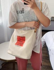 Fashion Letter White Printed Large Capacity Single Shoulder Messenger Bag