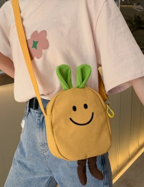 Fashion Yellow Cartoon Embroidered Canvas Crossbody Shoulder Bag