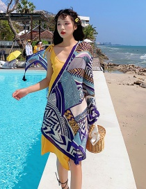 Fashion Color Geometric Print Tassel Scarf Shawl