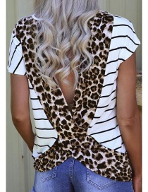 Fashion Leopard Striped Stitched Halter T-shirt