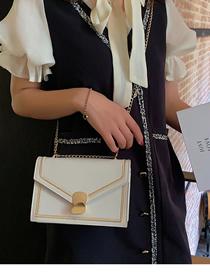 Fashion White Embroidered Line Geometric Magnetic Buckle Shoulder Messenger Bag