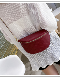 Fashion Red Pu Leather Rhombic Chain Shoulder Slung Chest Bag