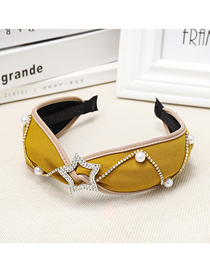 Fashion Yellow Diamond-studded Five-pointed Star Wide-brimmed Headband