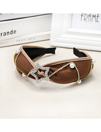 Fashion Brown Diamond-studded Five-pointed Star Wide-brimmed Headband