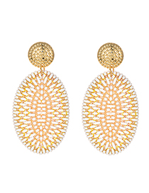 Fashion White Alloy Rattan Oval Stud Earrings