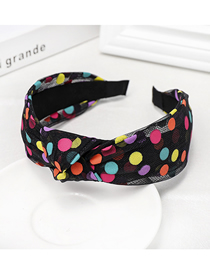 Fashion Black Polka Dot Knotted Mesh Headband