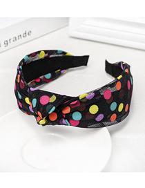 Fashion Black Polka Dot Knotted Mesh Headband