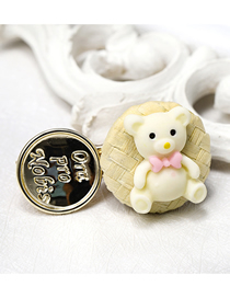 Fashion Beige Rattan Bear Hairpin