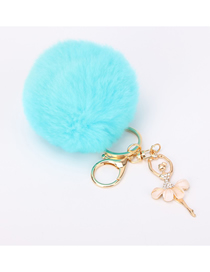 Fashion Lake Blue Diamond-studded Plush Rabbit Fur Ball Keychain