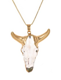 Fashion Gold Crystal Copper Cow Head Necklace