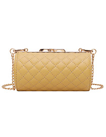 Fashion Yellow Grids Pattern Decorated Bag