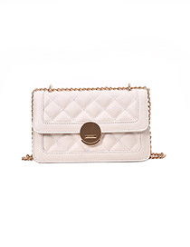 Fashion White Embroidery Thread Rhombic Chain Lock Single Shoulder Messenger Bag