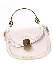 Fashion White Locked Crossbody Shoulder Bag