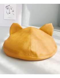 Fashion Cat Ear Beret Turmeric Leather Stereo Ear Beret