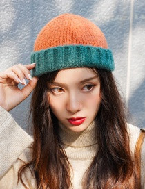 Fashion Color Matching Orange + Dark Green Knitted Color Matching Cuffed Melon Fur Line Parent-child Cap