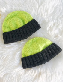 Fashion Color Matching Green + Black Knitted Color Matching Cuffed Melon Fur Line Parent-child Cap