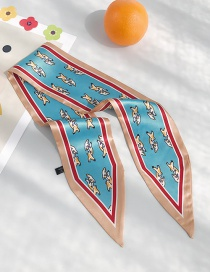 Fashion Little Pig Lake Blue Pig Print Double-sided Pointed Scarf