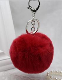 Fashion Big Red Rabbit Fur Ball Fur Keychain